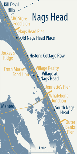 map of Nags Head, NC, communities and landmarks