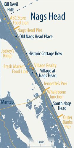 map of nags head, outer banks north carolina