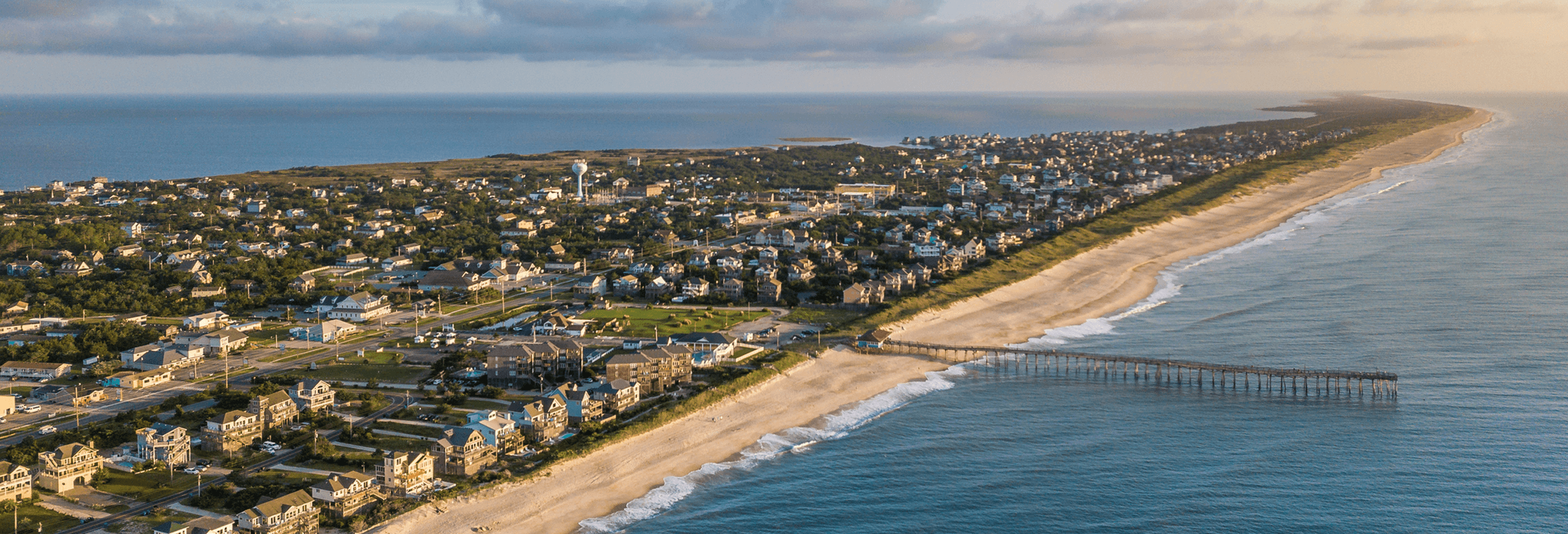 aerial shot over the outer banks