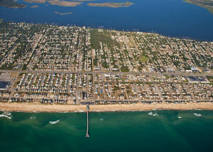 aerial view of Avalon Fishing Pier, Kill Devil Hills, Outer Banks, NC