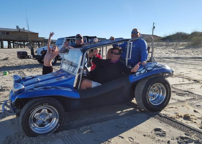 dune buggy on the beach in the outer banks