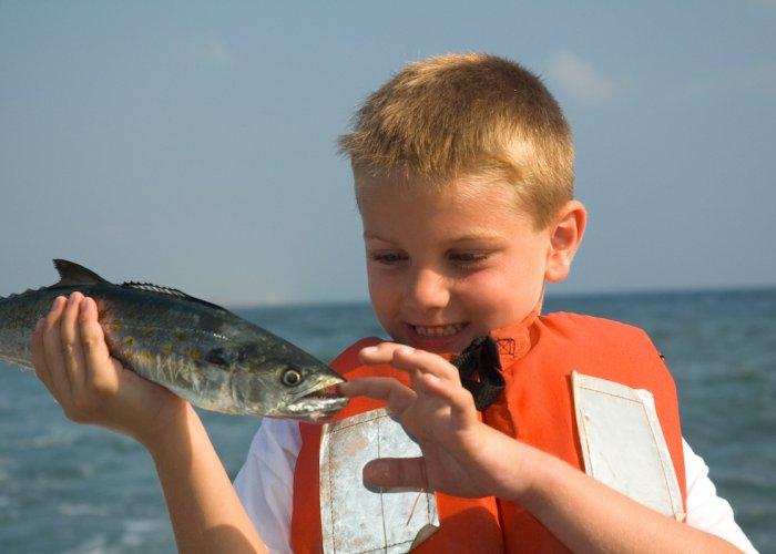 kid holding a spanish mackerel