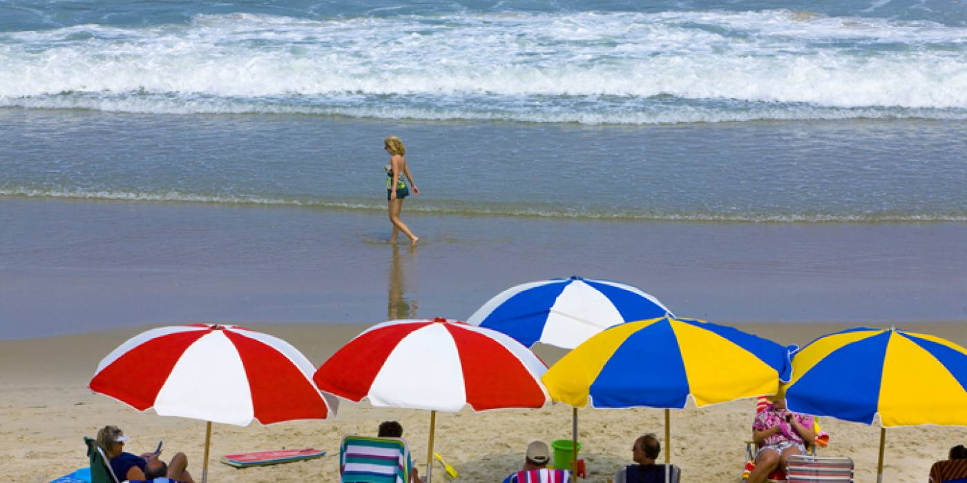vacationers on the beach in Kill Devil Hills, Outer Banks