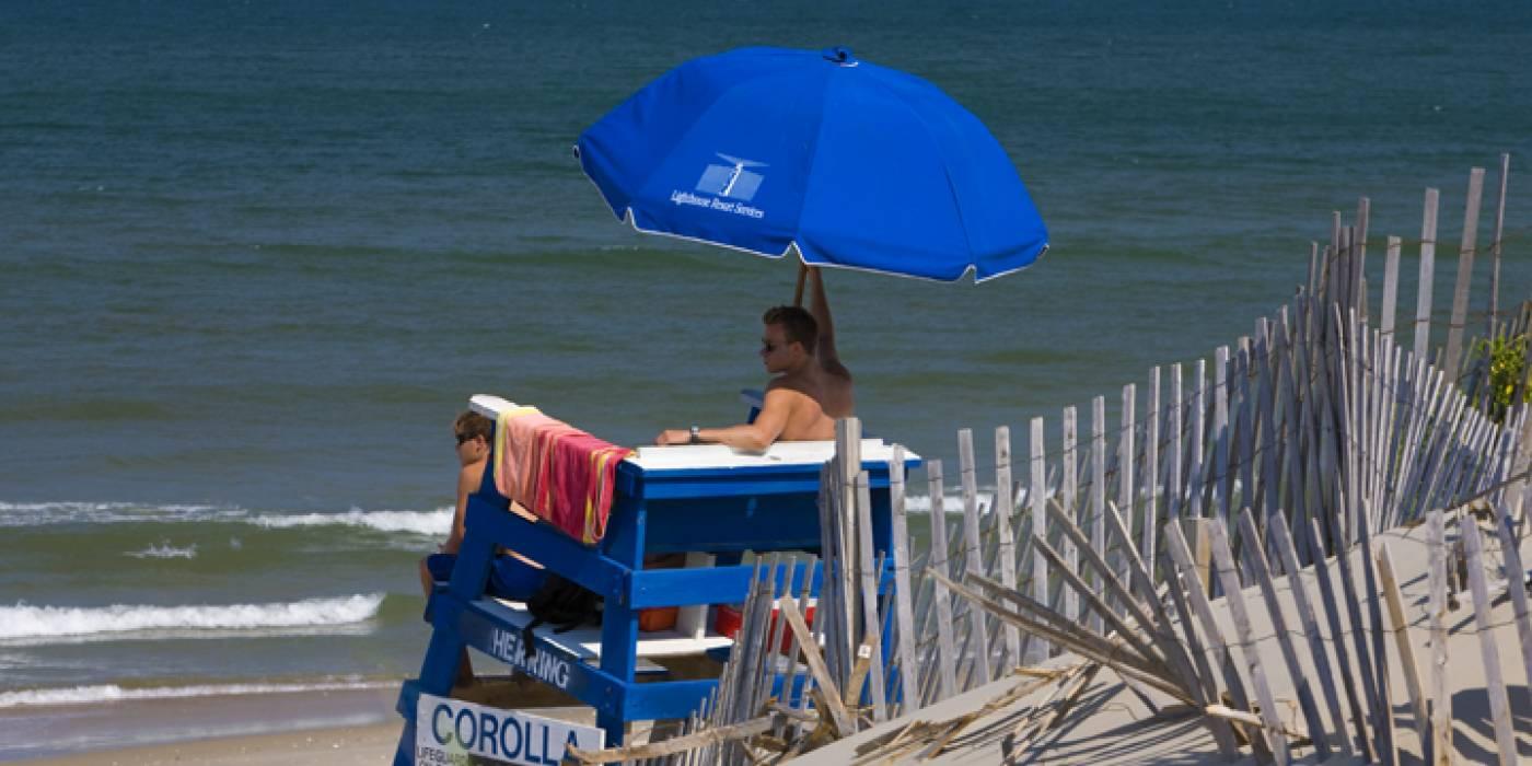 lifeguard on the beach in Corolla