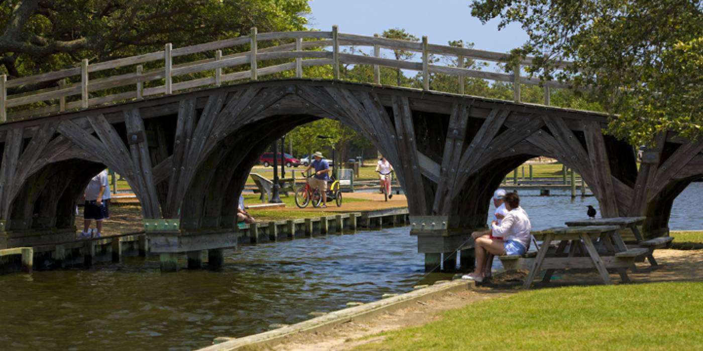 Wooden foot bridge at the Whalehead Club, Corolla, NC